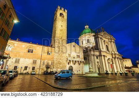 New Cathedral Or Duomo Nuovo And Old Cathedral Or Duomo Vecchio Aerial Panoramic View In Brescia Cit