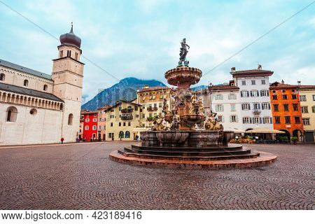 Piazza Del Duomo Central Square In Trento. Trento Is A City On The Adige River In Trentino Alto Adig