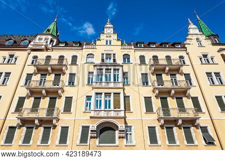 Beauty Art Nouveau Style Building Near The Waltherplatz Main Square In Bolzano City In South Tyrol,