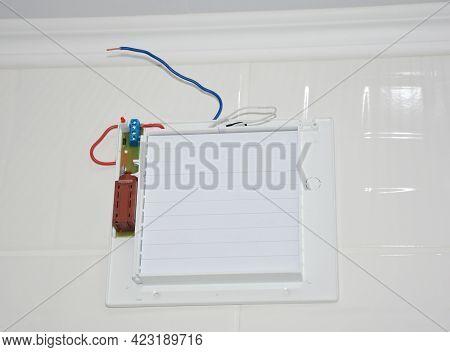 Bathroom Ventilation Fan, Exhaust Fan Installation On A Tiled Wall. Wiring A Bathroom Ventilation Fa