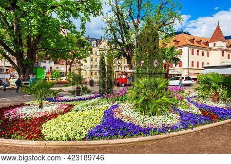 Public Park Merano City Centre View. Merano Or Meran Is A Town In South Tyrol Province In Northern I