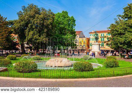 Vittorio Emanuele Ii Statue At The Piazza Bra Square In Verona City In Veneto Region In Italy