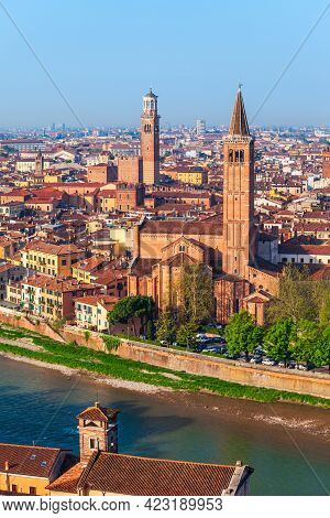 Verona Aerial Panoramic View. Verona Is A City On The Adige River In Veneto Region In Italy.