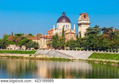 San Giorgio In Braida Church At The Adige River In Verona, Veneto Region In Italy