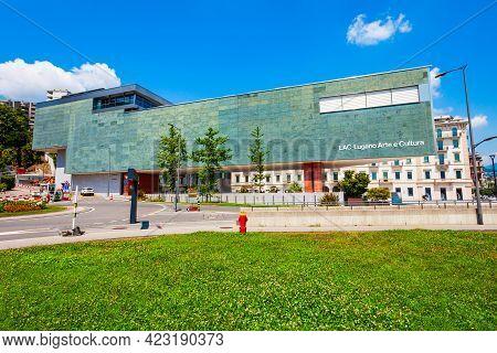 Lugano, Switzerland - July 09, 2019: Lac Lugano Art And Culture Centre Or Lugano Arte E Cultura In L