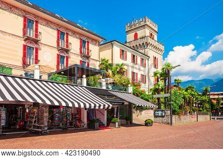 Ascona, Switzerland - July 10, 2019: Beauty Old Building In Ascona, Which Located Near Locarno, A To