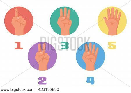 One, Two, Three, Four, Five Fingers. 1 2 3 4 5 Flat Icon. Hand Gestures And Numbers With Your Finger