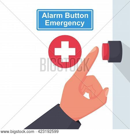 Alarm Button Emergency. Button To Call The Doctor. Vector Illustration Flat Design. Isolated On Whit