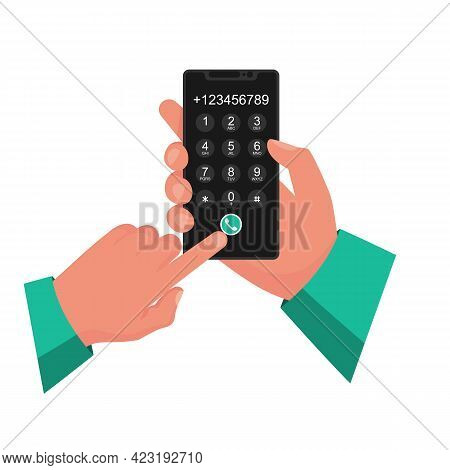 Dial Number. Businessman Holds Smartphone In Hands. Dialing Numbers. Here Can Be Your Template For A