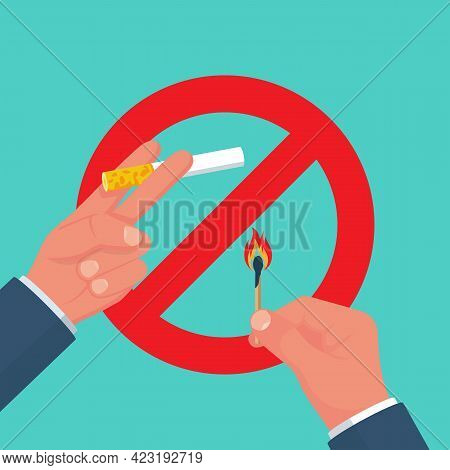 Do Not Smoke. Red Sign Prohibiting Smoking Cigarettes. Bribeing Cigarettes. Restriction In A Public
