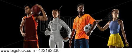Sport Collage. Tennis, Soccer Football, Basketball, Fencing Players Posing Isolated On Black Studio