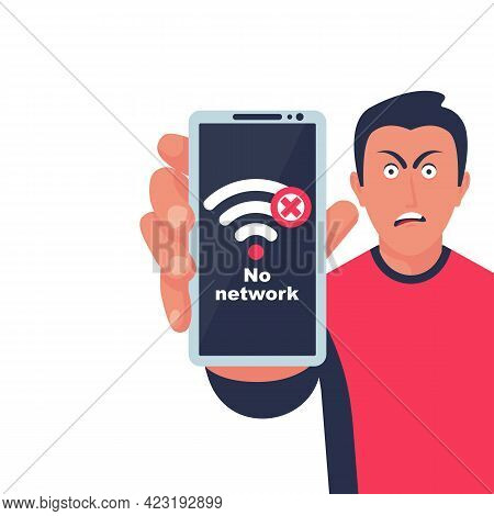 No Connection, On The Screen Of The Smartphone. Angry Face Young Guy. Wi-fi Sign With Off Signal. No