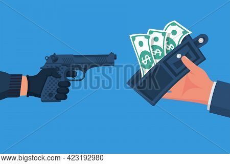 Wallet Or Life. Criminal Threatening Gun Extorts Money From The Victim. Robbery Concept. Bandit With