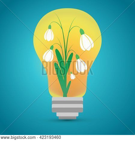 Tungsten Light Bulb With Snowdrops Inside, Conceptual Vector