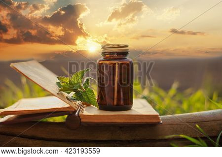 Natural Supplements, Photo In Natural Light. Tablet Container - Mockup