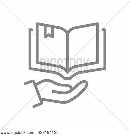 Open Book On Hand Line Icon. Encyclopedia, Brainstorm, Bookstore Symbol