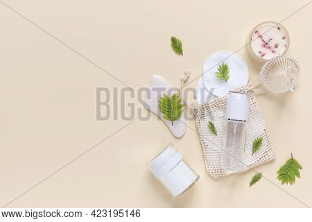 Reusable Glass White Bottles For Oil, Cream, Lotion Or Serum, Reusable Cotton Pads And A Gouache Scr