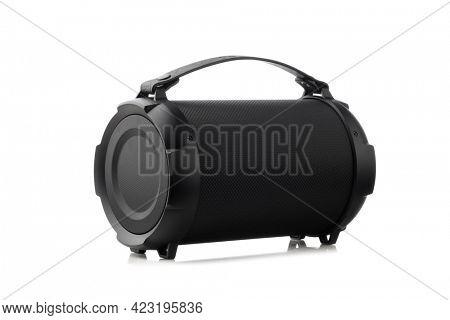 portable handheld wireless speaker, isolated on white background
