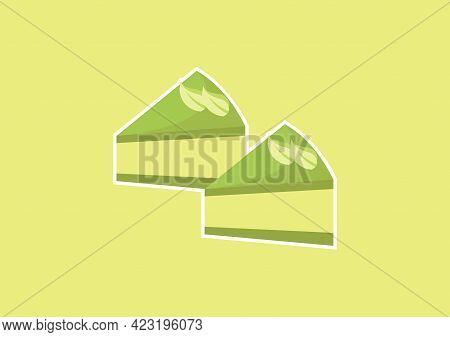 Illustration Of A Slice Of Green Tea Cake With A Sweet And Delicious Mix Of Light Green And Dark Gre