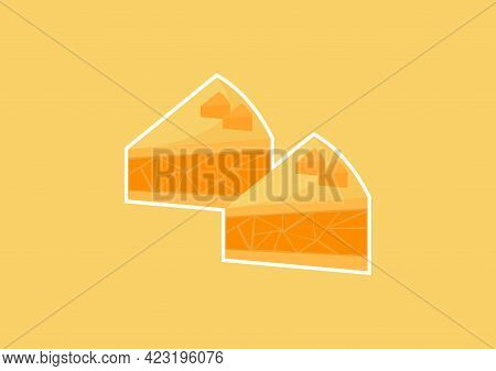 Illustration Of A Slice Of Cheesecake In A Sweet And Delicious Yellow Color