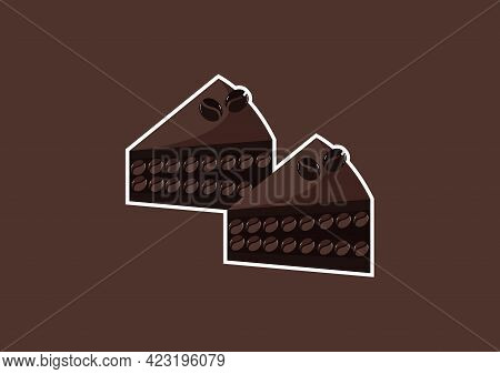 Illustration Of A Slice Of Coffee Cake With A Sweet And Delicious Mix Of Light Chocolate And Dark Ch