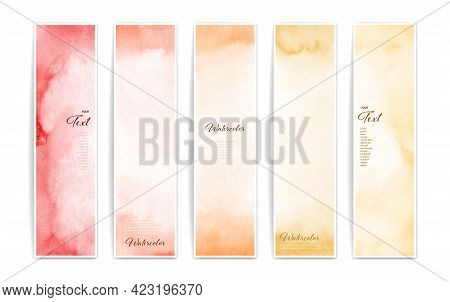 Set Of Four Varicolored Banners, Abstract Headers Get Creative With Bright Watercolor Splashes.