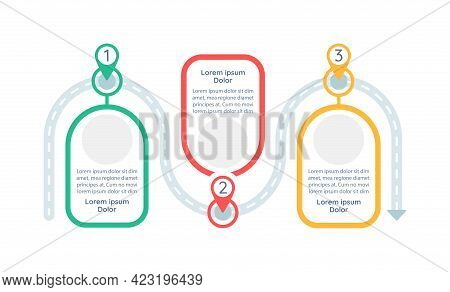 Long-term Goals Achieving Vector Infographic Template. Roadmap Presentation Design Elements With Tex