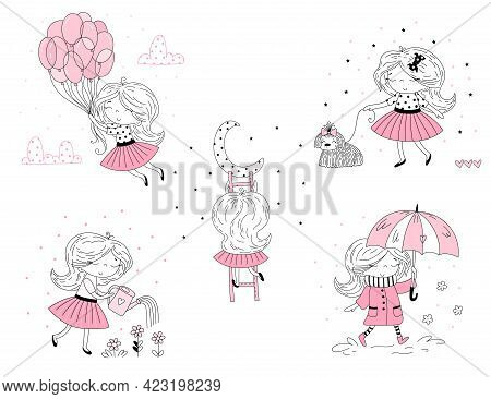 Set Of Cute Little Girl In Pink Clothes. Vector Doodle Illustration In Pink Colour For Girlish Desig