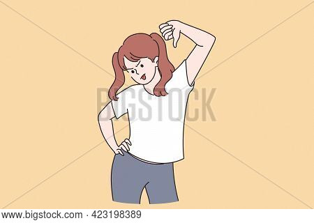 Thumbs Down And Negative Expression Concept. Young Dissatisfied Girl Teen Cartoon Character Standing