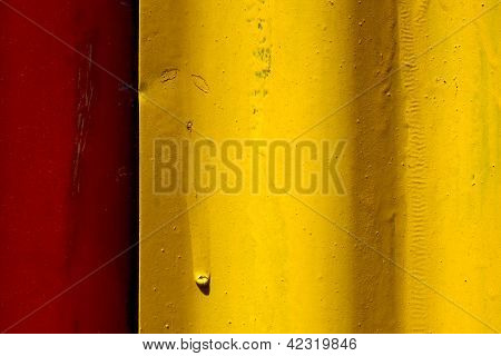 abstract colored red and yellow iron metal sheet in la boca buenos aires argentina poster