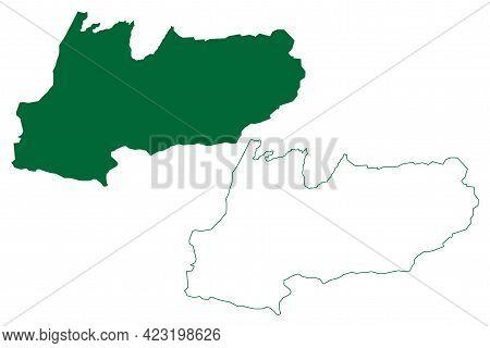 West Khasi Hills District (meghalaya State, Republic Of India) Map Vector Illustration, Scribble Ske