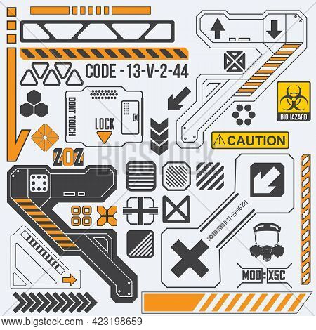 Robot Tech Elements With Signs And Symbols. Sci-fi Surface Pattern. Vector Illustration.