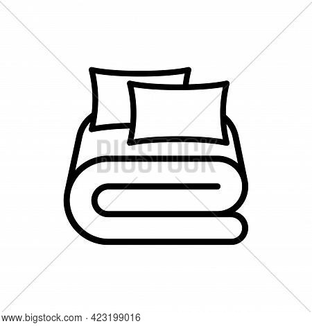 Bed Linen With Pillows, Bed Sheet And Duvet Cover Vector Outline Icon. Blanket And Cishion Pictogram
