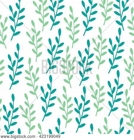 Seamless Decorative Green Foliage Pattern. Elegant Vintage Texture Branches With Leaves On White Bac