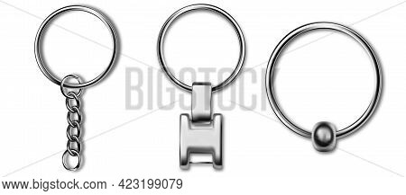Metal Keyring , Leather Keychain, Holder Trinket For Key With Metal Ring. Silver Colored Accessories