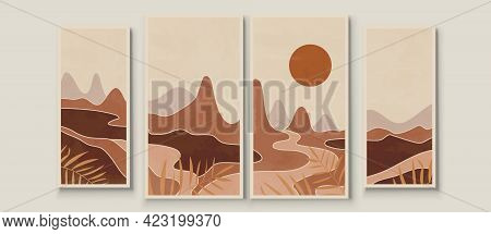 Abstract Landscape Composition Art With Sun And Moon. Earth Tones Colors Wall Art. Soft Color Painti
