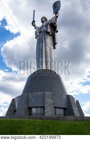 Kiev, Ukraine - May 9, 2021. Monumental Statue Of The Mother Motherland Devoted The Great Patriotic