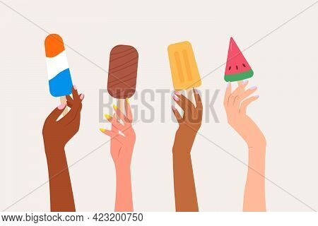 Set Of Female Hands Holding Colored Various Ice Creams. Summer Time Modern Vector Illustration In Fl
