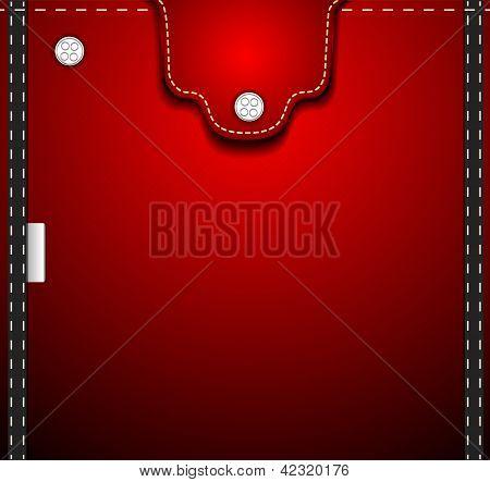 Red Denim Pocket
