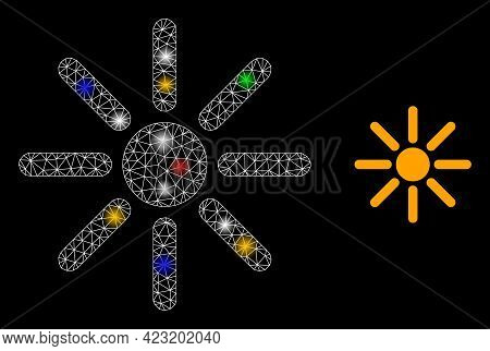 Shiny Mesh Net Sunshine With Colored Lightspots. Constellation Vector Frame Created From Sunshine Sy