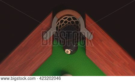 3d Render Billiard Table From Above Blow On A Black Ball 8 It Flies Into The Hole
