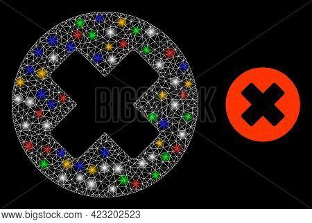 Glowing Mesh Web Deny With Vibrant Bright Dots. Illuminated Vector Frame Created From Deny Symbol. S