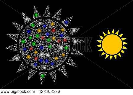 Flare Mesh Network Sun With Vibrant Light Spots. Constellation Vector Frame Created From Sun Icon. S