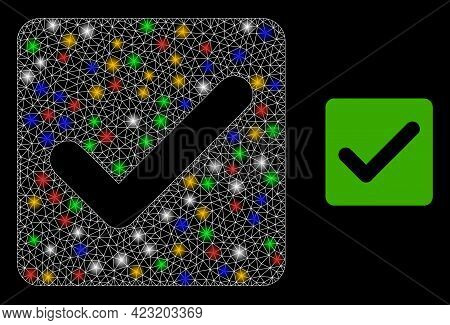 Shiny Mesh Network Confirmation Checkbox With Colorful Glowing Spots. Constellation Vector Mesh Crea