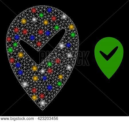 Bright Mesh Network Valid Place With Multicolored Glowing Spots. Constellation Vector Frame Created