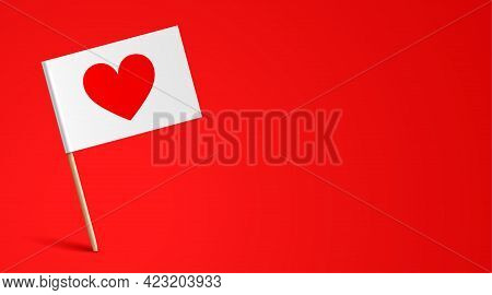 Paper Flag With Heart Icon. Romantic Banner.