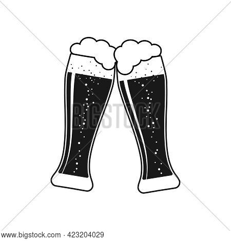 Clink Beer Graphic Icon. Cheers With Two Beer Glasses Sign Isolated On White Background. Vector Illu