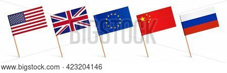 World Vector Flags With Wooden Sticks, Isolated.