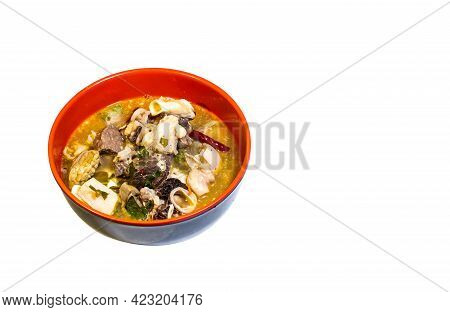 Pork Innards Soup. Spicy Tom Yum, A Popular Food Of Thai People. Clipping Path.