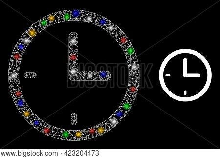 Flare Mesh Network Clock With Colored Light Spots. Constellation Vector Frame Created From Clock Pic